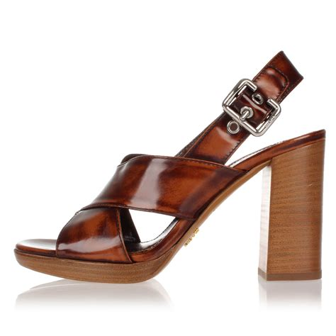Sandal Wedges Prada Made In Italy prada brown brushed leather sandals shoes made in italy new with tag ebay
