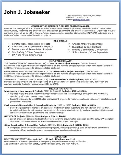 Construction Qc Manager Resume by Construction Manager Resume Pdf Creative Resume Design