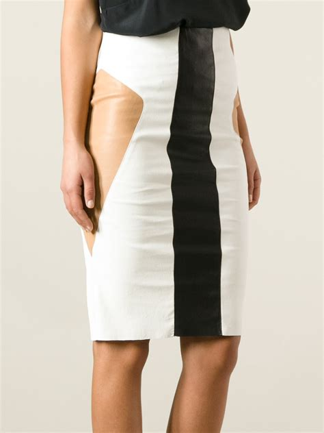 drome leather paneled pencil skirt in white lyst