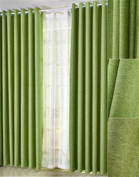 curtain green simple modern chic natural linen insulated curtains in