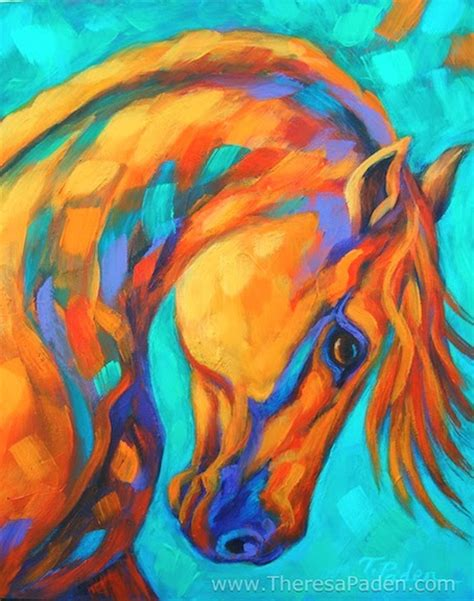 color painting california artwork bright colored original horse art by