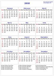 Calendar 2018 List 2018 Calendar Printable Calendar 2018 Calendar In