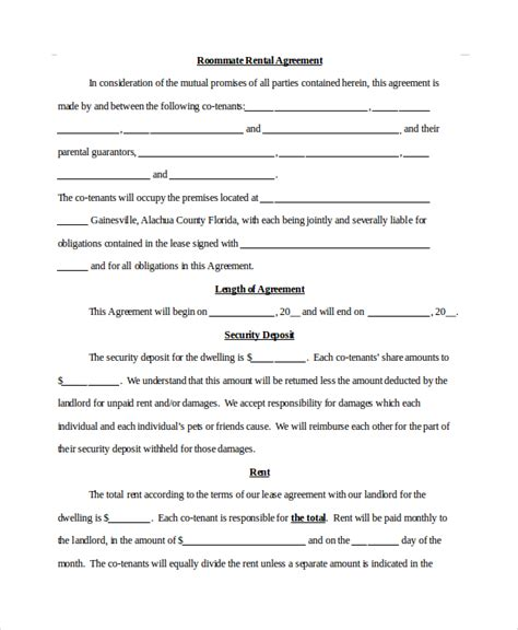 roommate lease template roommate agreement 12 free pdf word documents