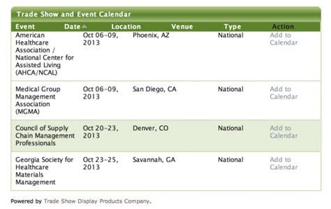 Trade Show Calendar Trade Show Events Calendar For Your Website