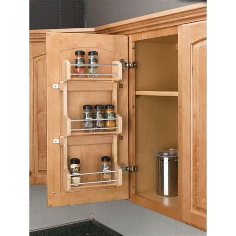 kitchen cabinet door organizer shop rev a shelf wood in cabinet spice rack at lowes com