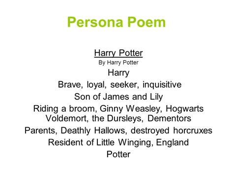harry potter poem creative writing poetry ppt