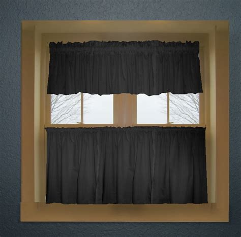 Black Valance Curtains Black Color Tier Kitchen Curtain Two Panel Set