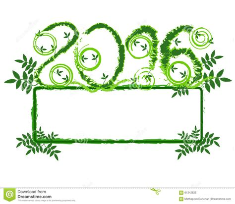 new year 2016 green vine stock vector image 61342825