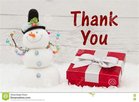 thank you message stock image image of object snowman