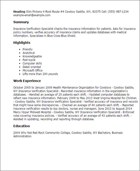 Health Insurance Specialist Cover Letter by Insurance Verification Specialist Resume Template Best Design Tips Myperfectresume