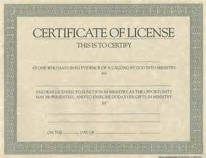 License Certificate Template by Certificate License For Minister Cokesbury