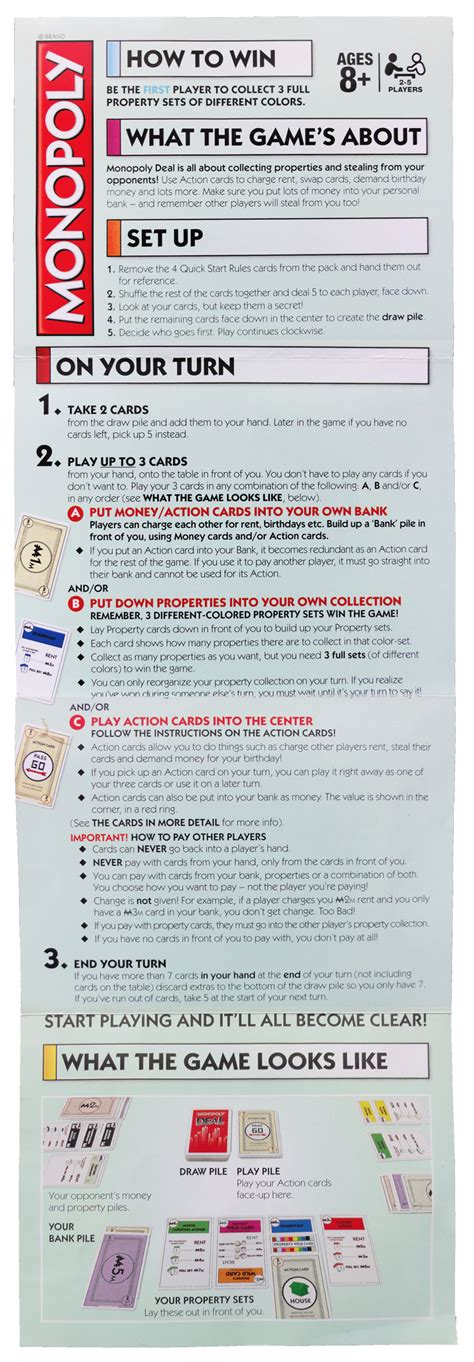printable monopoly directions monopoly deal cards rules and faq