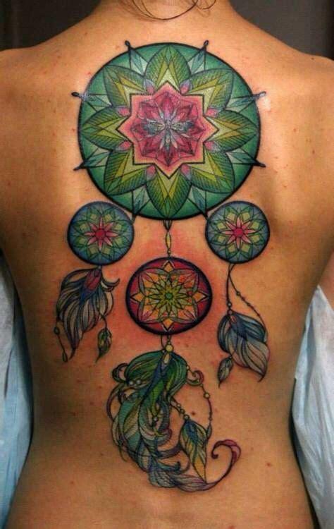 Tattoo Mandala Dos Sonhos | gorgeous jewel toned mandala dream catcher tattoo