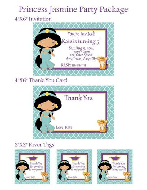 printable princess jasmine thank you cards printable princess jasmine birthday party package