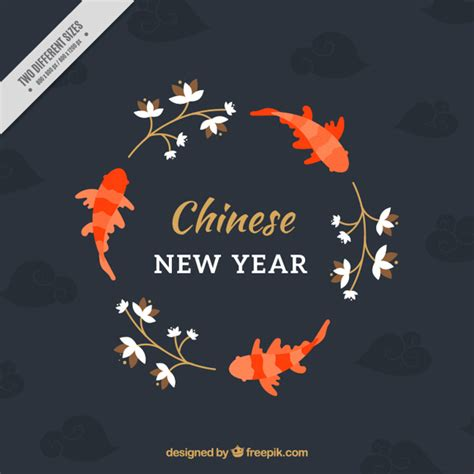 new year and fish new year background with fish and plants vector