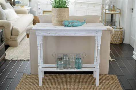 white entry table diy white washed wood table fox hollow cottage