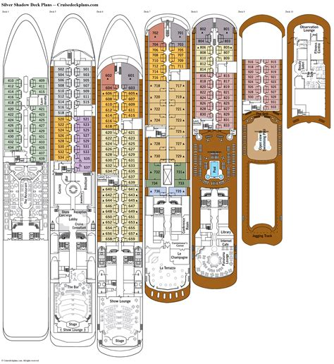 deck plan silver shadow deck plans diagrams pictures