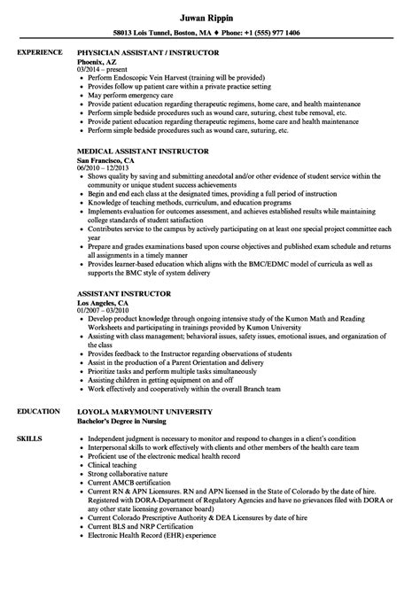 Nursing Assistant Instructor Resume Endoscopy Sle Resume Sles Of Accounting Resume