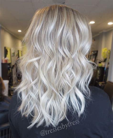 medium brown hair with platinum blonde highlights platinum white blonde balayage ombre balayage