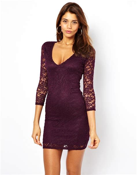 asos asos mini v neck lace bodycon dress at asos
