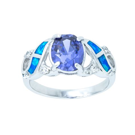 sterling silver blue opal ring cz amethyst ribbons