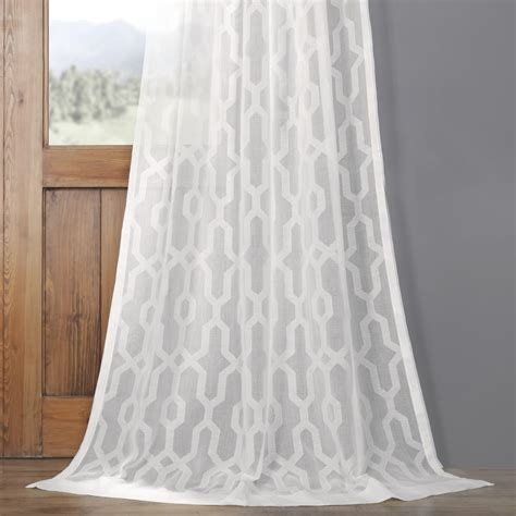 Patterned Linen Curtains Limoges Geo White Patterned Faux Linen Sheer Curtain