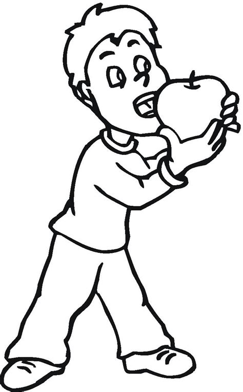 eaten apple coloring page free coloring pages of child eating apple