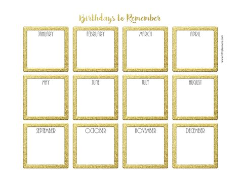 printable birthday calendar template free birthday calendar