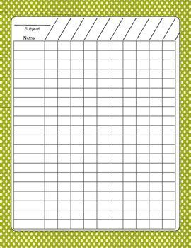 Data Collection Sheets Student Progress By Brigid Ann Tpt Classroom Data Collection Template