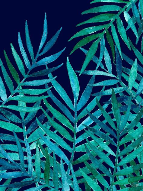 watercolor tropical pattern watercolor palm leaves on navy by micklyn illustration