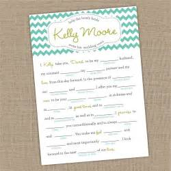wedding vow template printable custom bridal shower wedding vows mad lib