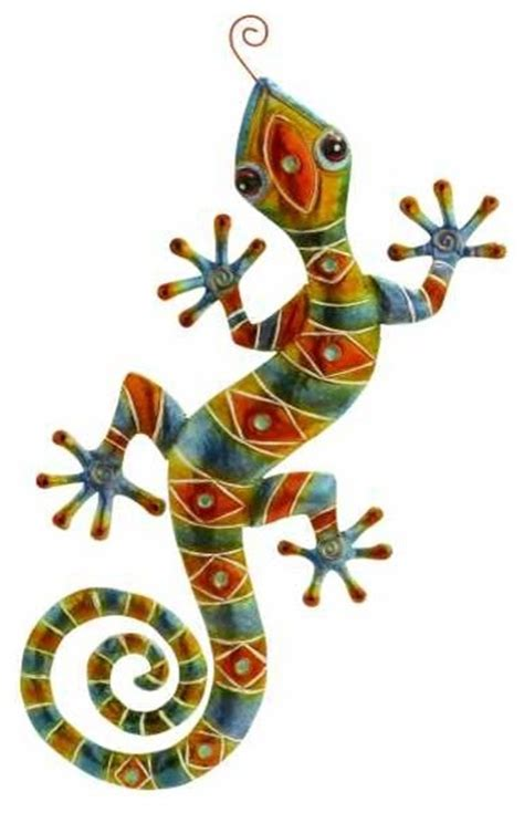 Mosaic Home Decor by Tribal Gecko Lizard Eclectic Artwork By Metal Wall