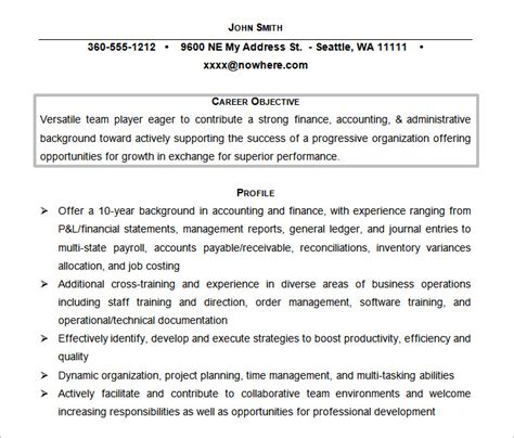 accounting career objective exles resume objectives 61 free sle exle format