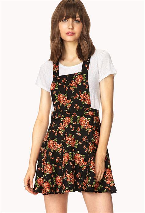 Forever21 Orange Erhnic Dress lyst forever 21 sweetest flower overall dress in orange