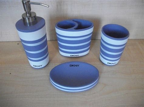 Dkny Bathroom Accessories Dkny Graphic Stripe Lavender White 4 Pc Ceramic Bath Accessories Dkny P S Southwest Styles