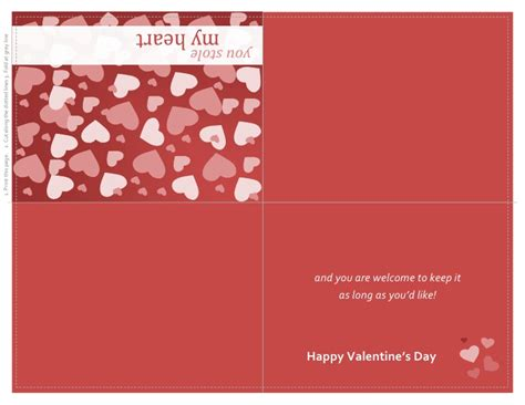 day card templates valentines day card quarter fold