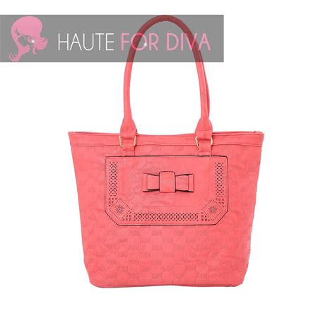 tote bag pattern with bow ladies new cut out details bow embossed pattern faux