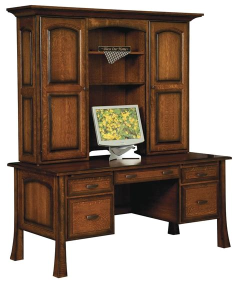 Wooden Desk With Hutch Amish Executive Computer File Desk Hutch Solid Wood Home Office Furniture Ebay