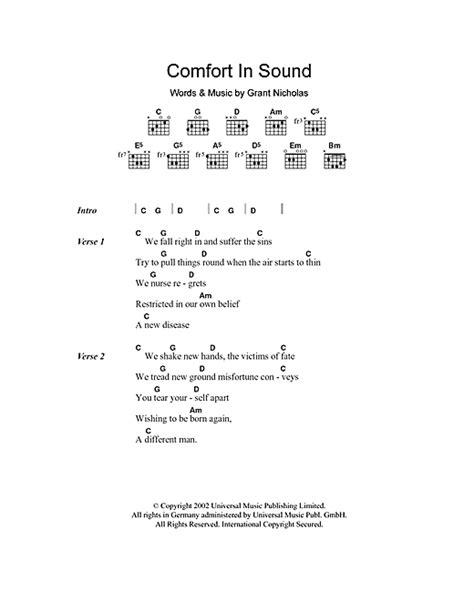 comfort lyrics comfort in sound sheet music by feeder lyrics chords