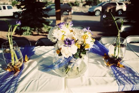 Diy Wedding Centerpieces With White Purple And Yellow Purple And Yellow Wedding Centerpieces