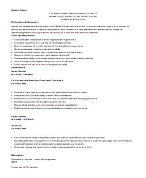 resume sle for server sle restaurant server resume 6 exles in word pdf
