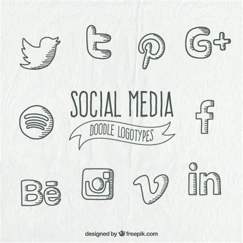 doodle logo doodle social media logo collection vector free