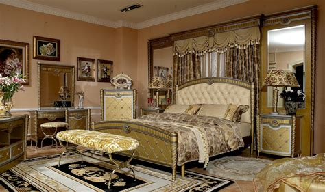 luxurious bedroom furniture 4 pc zeus european golden luxury bedroom set