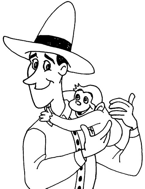 free coloring pages curious george monkey the man with the yellow hat and curious george monkey