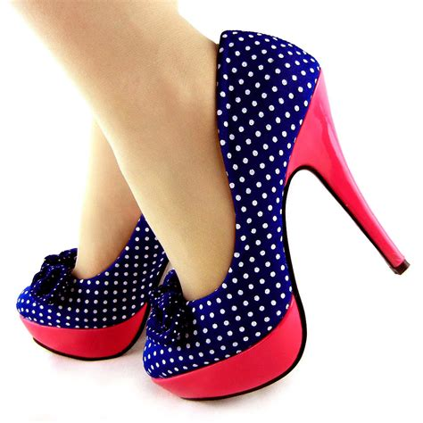 high heel shoes with bows polka dots bow platform stiletto high heels