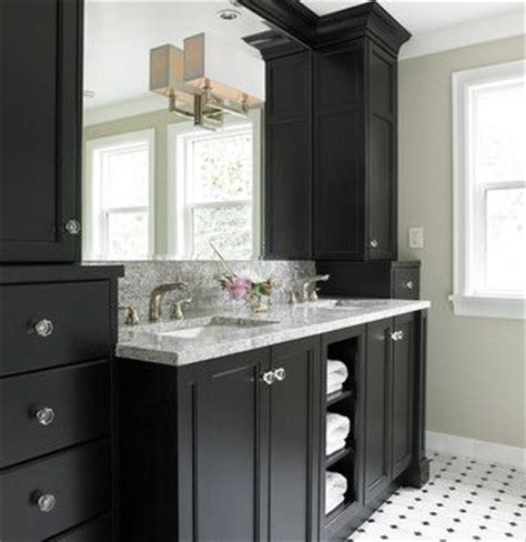 Black Bathroom Storage Tower Not My Bathroom But General Idea Black Cabinets Glass Knobs Linen Tower Marble Counter Top