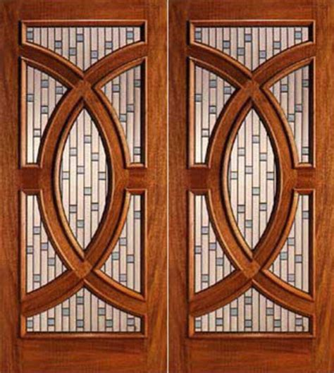 Mahogany Prehung Double Front Doors With Circle Decorative Decorative Glass Front Door