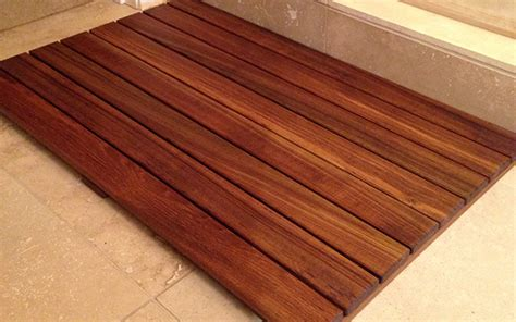 teak bathroom floor mat