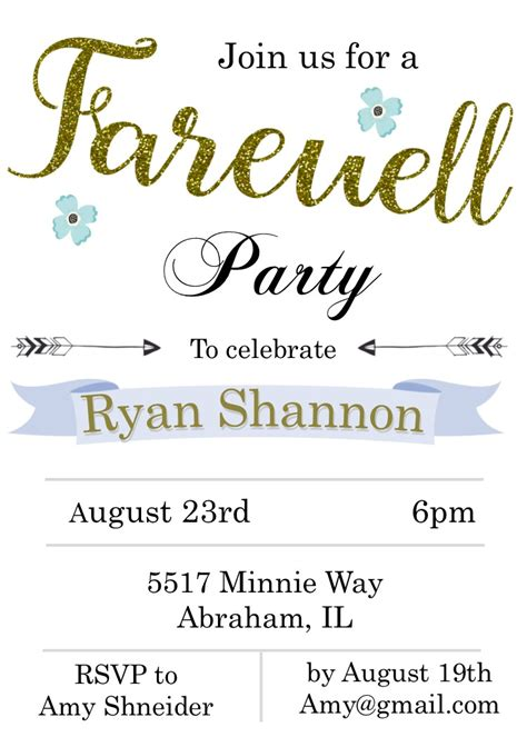 Going Away Party Invitations New Selections Summer 2018 Going Away Invitation Template