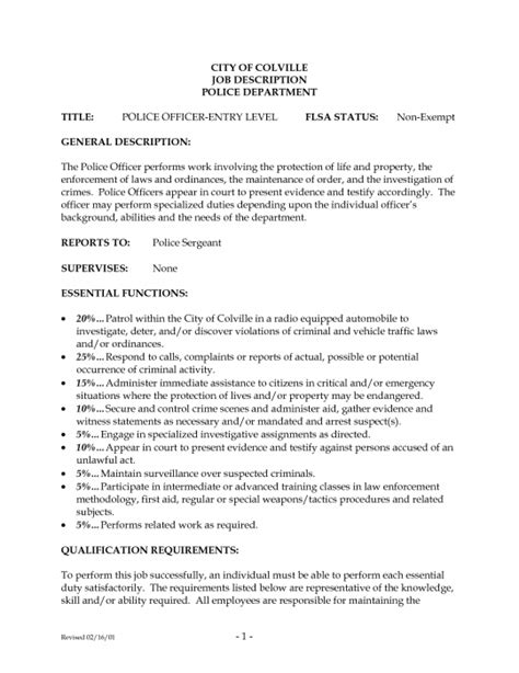 Officer Description For Resume by Officer Description For Resume